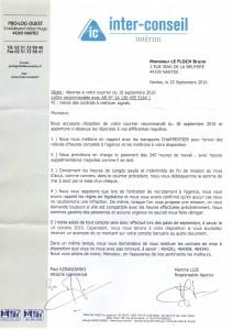 Réponse et acceptation de Inter Conseil le 21 09 2016
