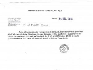 Courrier reçu ce jour le 22 12 2016 de la préfecture de Nantes