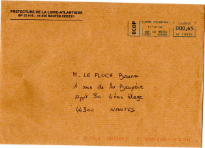 Envelope prèf reçu ce jour le 20 12 2016