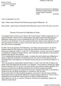 Dépôt de plainte auprès du procureur de Nantes le 8 Juin 2018