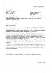 Lettre recommandée à l'avocat de Chrono Intérim le 2 Oct 2017