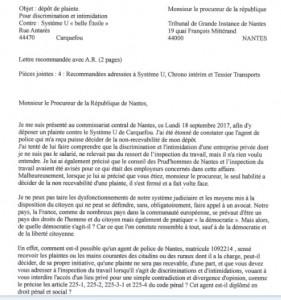 lettre recommandée au Procureur de la république page 1