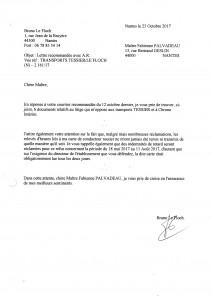 Réponse recommandée à l'avocat des transports Tessier le 23 10 2017 057